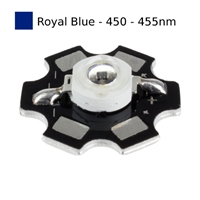 3W Royal Blue LED on Star Board Heatsink