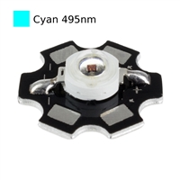 3W Cyan LED on Star Board Heatsink