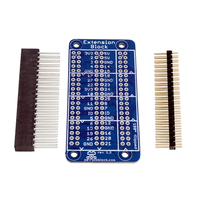 The petRockBlock ExtensionBlock is an add on board for the Raspberry Pi that extends the GPIO 3 times to allow for 2 full size hats as well as a third GPIO header in the middle.