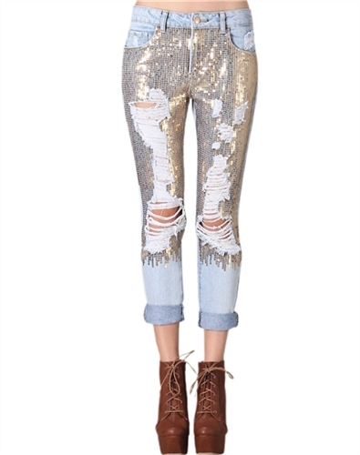 In style gold sequined ripped boyfriend style jeans, mid rise straight leg jeans to go out in, Carrie style jeans with 5 pockets & light weight for spring break & summer music festivals, party jeans celebrity inspired boyfriend style rolled up, bling