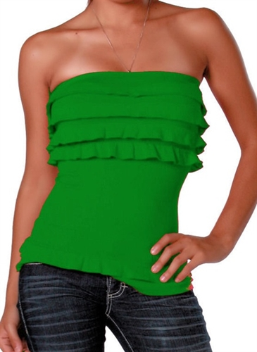 sexy green seamless ruffled tube low cut top is super stretchy and fitted, ruffled tops that are seamless, sexy green seamless ruffled tops, super sexy green seamless tube tops, trendy green ruffled fitted tops, party tops that are strapless tops, tube