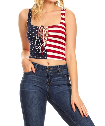 sexy_patriot_flag_crop_lace_up_cleavage_top