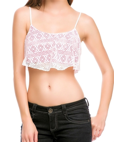This trendy crochet top is cropped and has bright pink built in shelf bra with adjustable straps. Fabric is poly/spandex.