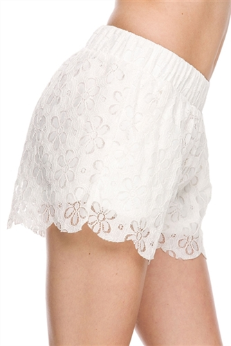 pretty lace shorts have elastic waist band and scalloped hem, in style lace shorts can be worn in fall layered, sexy lace shorts that are dressy festival party shorts, wear white shorts for winter holidays and beach sun shorts, chic shorts for going out
