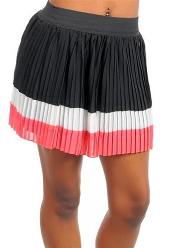 sexy color block skirt has stretchy elastic waist band and is lined, trendy pleated color block mini skirts for office or date short skirt, trendy skirts pleated, sexy pleated skirts, classy mini skirt, sexy skirts, trendy day skirts, color block skirt