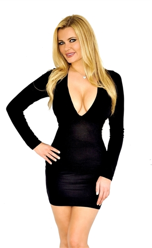 sexy black long sleeved fitted cleavage dress, deep plunge mini dresses that are stretchy and fitted dresses, in style plunge dress is black fitted mini dress to go out on the town cocktail dress, party dresses from jaded styles, glam plunge dresses
