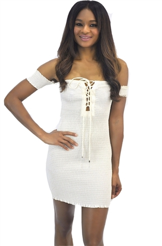 sexy_white_ruched_halter_off_shoulders_dress