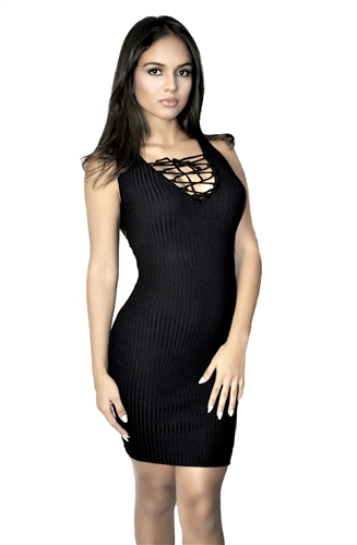 black lace up front ribbed bodycon dress