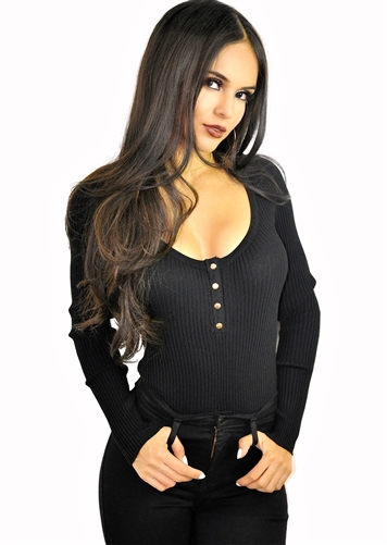 black_henley_stretchy_cleavage_bodysuit