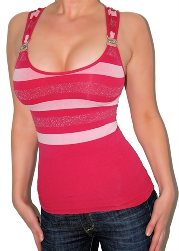 Sexy seamless lurex stripe racer back top has rhinestone rings at sleeves. Form fitting like a second skin. Fabric is nylon/spandex. One size