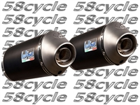 2008-2011 Kawasaki ZX14R Leo Vince (8912L) SBK Italia - Unlimited EVO II Black Aluminum Slip On Exhaust (Conical End Caps) - Limited Edition