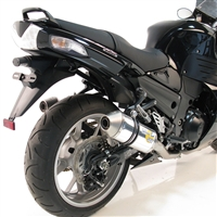 2008-2011 Kawasaki Ninja ZX14 Leo Vince SBK Oval Racing Aluminum Unlimited with Conical End Caps Slip On Exhaust - Dual Canisters (8192)