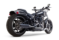2006-2014 Harley Davidson Softail Breakout Two Brothers Comp-S Full Race Exhaust System Dual Ceramic Black with Carbon Fiber End Cap (005-3760499D-B)