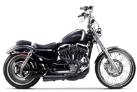 2004-2013 Harley Davidson Sportster Two Brothers Comp-S Full Race Exhaust System 2-1 SS with Carbon Fiber End Cap - Ceramic Black (005-4110199-B)