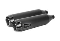 2004-2017 Harley Davidson Softail Deluxe / Slim Two Brothers Comp-S Slip On Exhaust System Dual Shorty SS - Carbon End Caps - Black (005-4360499D-B)