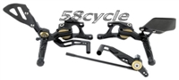 2004-2009 KTM 990 Super Duke/R VCR 38GT Fully Adjustable Gilles Racing RearSets - Black/Gold