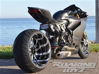Ducati Panigale 1198 1298 Billet OSD Single Sided Swingarm Kit Black Chrome Suzuzki Fat wide tire extended arm 300 custom wheels 17x3.5 18x10.5 complete outside drive one chain performance H2R H2SX