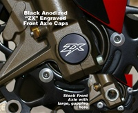 Kawasaki Ninja Billet Front Axle Cover Kit Black Anodized ZX Engraved
