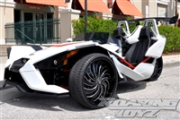 Custom Polaris Slingshot Performance Wheel Tire Package 24 Inch Wheels Style 60.24DB Tires Wide 295 Fat Rear Tire Ultimate traction base sl model 2015 2016 SS Forged Black Machined 24x10 rear 24x9 front 24""