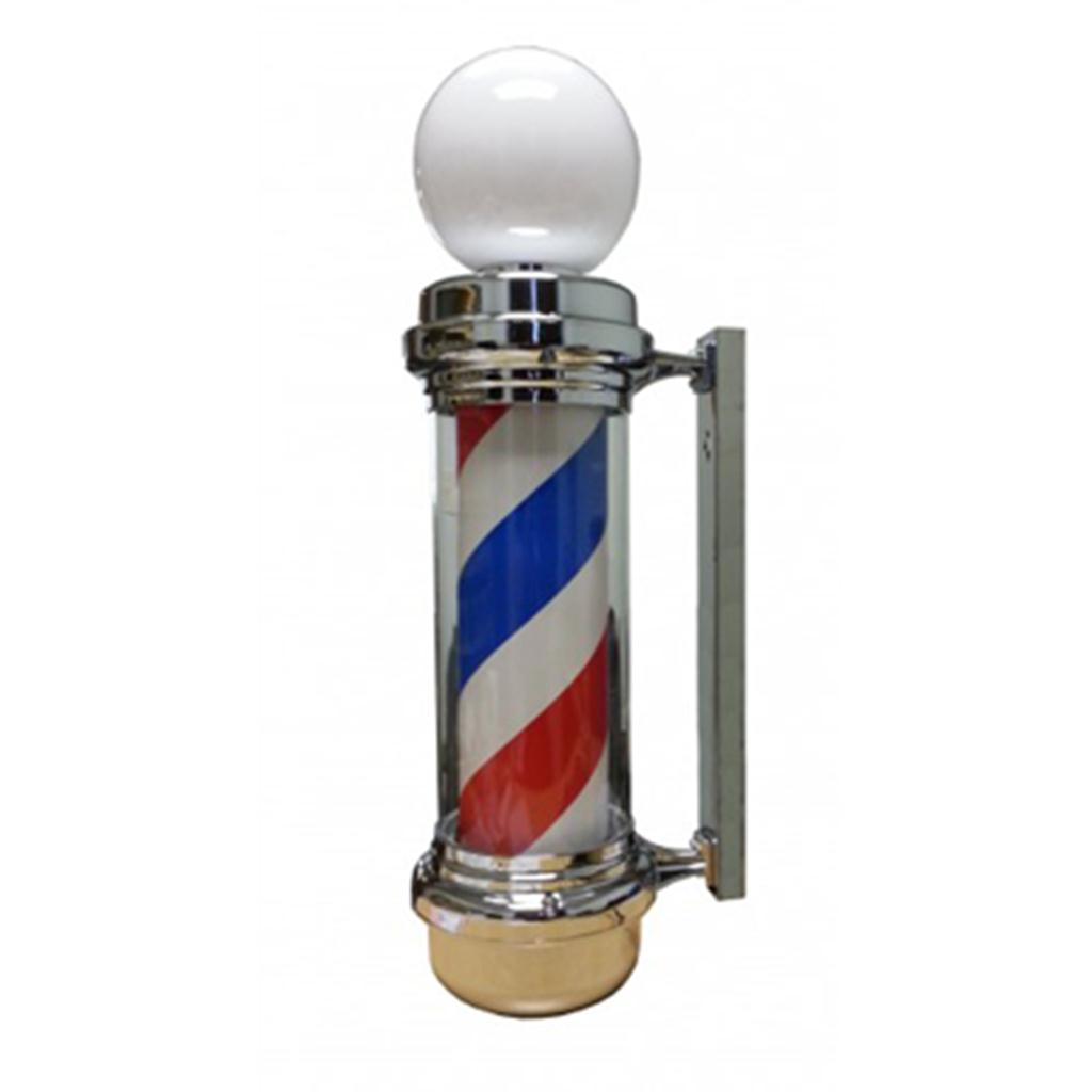 Spinning Barber Pole Outdoor Shop Display Red/Blue Stripe w/ Globe Light NEW