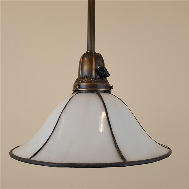 Bent leaded glass shade on vintage hardware
