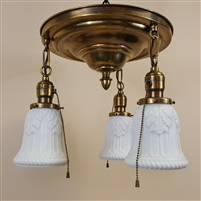 Antique 3 light pan fixture with milk glass shades (SOLD)