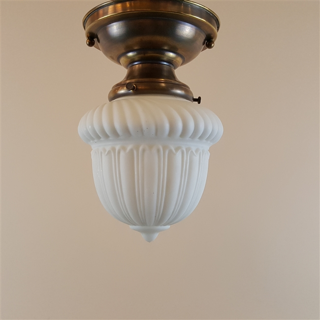 Vintage Cast Glass Shade on Vintage Hardware