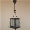 Ornate gas hall lantern with original finish