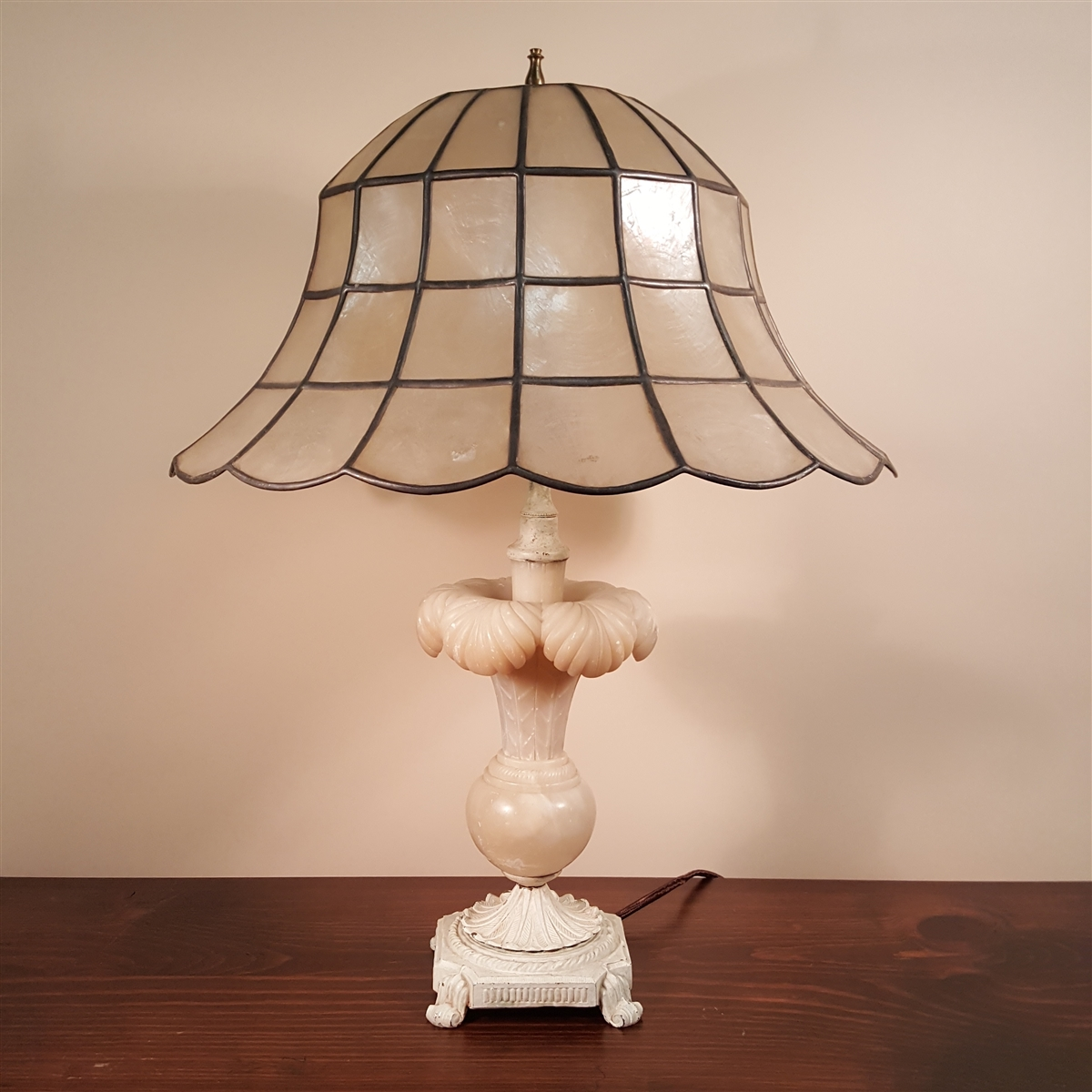 Table lamp with capiz shell shade alabaster table lamp with capiz shell shade aloadofball Image collections