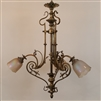 Three Armed Early Electric Cast Brass Chandelier