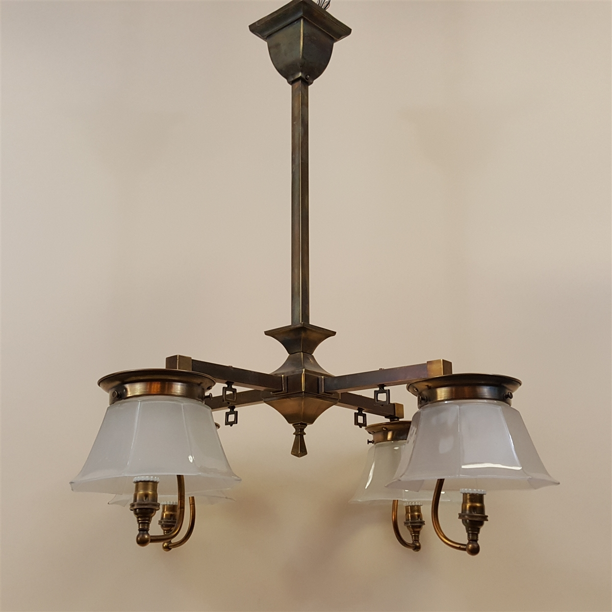 Early Four Light Arts And Crafts Chandelier