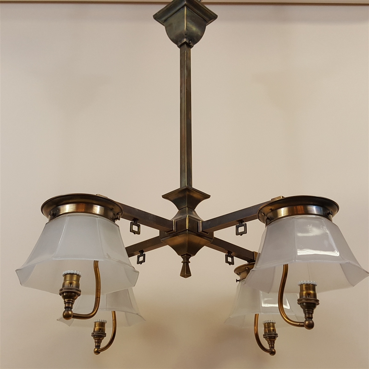 Early four light arts and crafts chandelier aloadofball Images