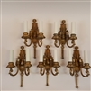 5 Cast Brass Ornate Figurative Wall Lights (SOLD)