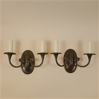 Pair of Heavy Cast Brass Wall Lights