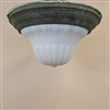 Milk Glass Flush Mount with Verdigris Brass Base (SOLD)