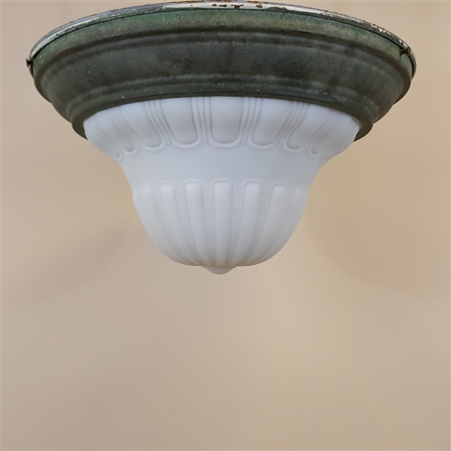 Milk Glass Flush Mount with Verdigris Brass Base