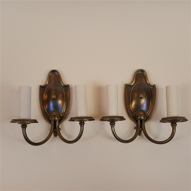 Pair of two Arm Brass Wall Lights (SOLD)