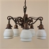 Five Light Iron Chandelier with Vintage Shades