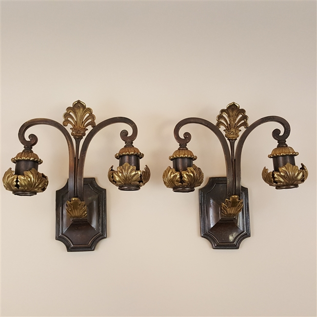Pair of early electric wall lights