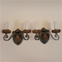 Pair of Iron and Brass Wall Lights