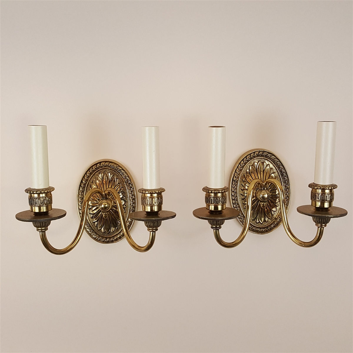 Pair of small two arm cast brass wall lights aloadofball Images