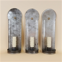 Set of three antique colonial style candle sconces