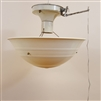 Vintage art deco Bakelite shade on vintage hardware with pull chain extension.