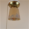 Vintage Brass and Porcelain Ceiling Light