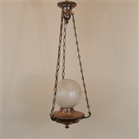 Early Etched Glass Globe on Vintage Hardware