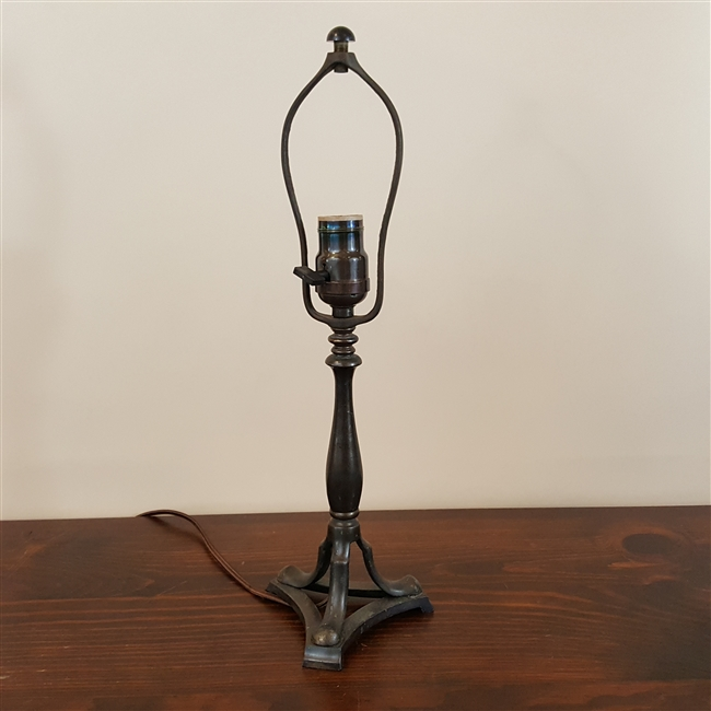 Vintage Cast Brass Table Lamp with Leaded Shade