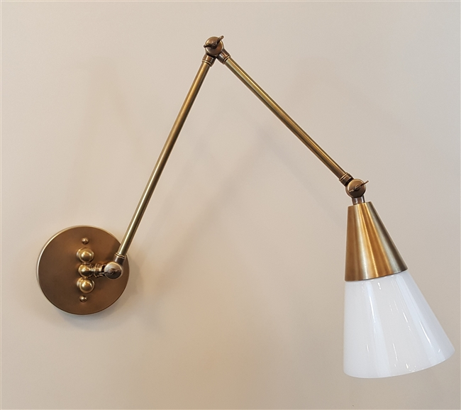 Adjustable Arm Wall Light with Reproduction Shades