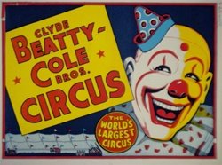 Original Circus Poster Clyde Beatty and Cole Brothers