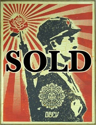 Shepard Fairey Rose Soldier on Wood