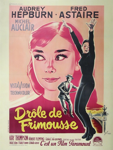 french movie poster funny face vintage movie poster audrey hepburn. Black Bedroom Furniture Sets. Home Design Ideas